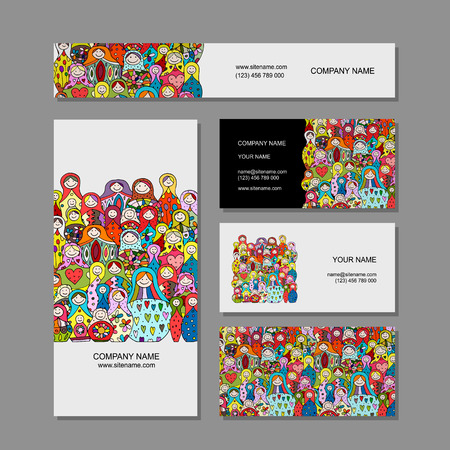 Illustration pour Business cards set, Matryoshka, russian nesting dolls design - image libre de droit