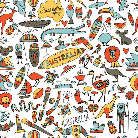 Illustration for Australia icons set, sketch for your design - Royalty Free Image