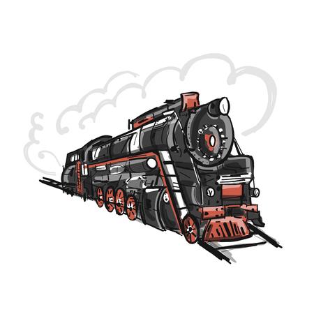 Illustration pour Retro train, sketch for your design - image libre de droit