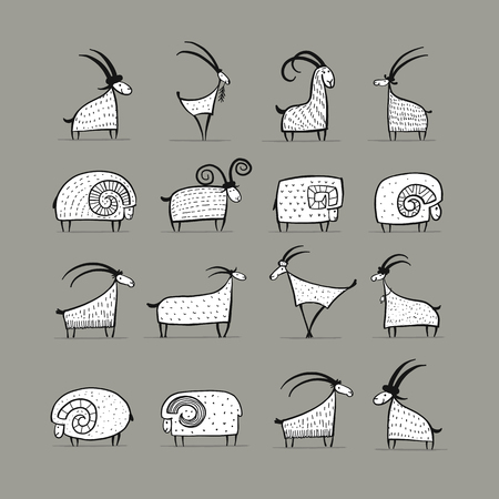 Illustration for Goats and rams collection for your design - Royalty Free Image