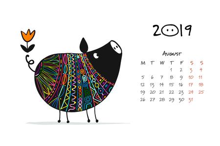 Ilustración de Cute piggy silhouette, symbol of 2019 year for your design - Imagen libre de derechos