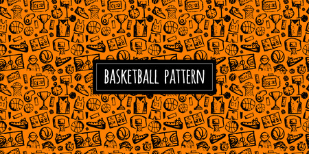 Ilustración de Basketball seamless pattern, sketch for your design. Vector illustration - Imagen libre de derechos