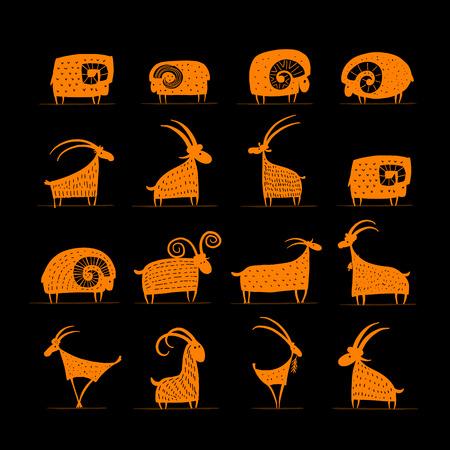 Ilustración de Goats and rams collection for your design. Vector illustration - Imagen libre de derechos