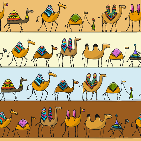 Illustration pour Camels caravan, seamless pattern for your design. Vector illustration - image libre de droit