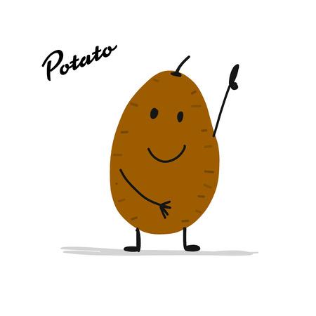 Ilustración de Funny smiling potato, character for your design - Imagen libre de derechos