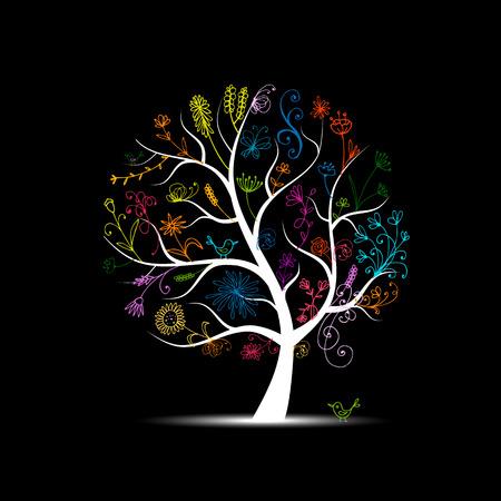 Ilustración de Floral tree for your design - Imagen libre de derechos