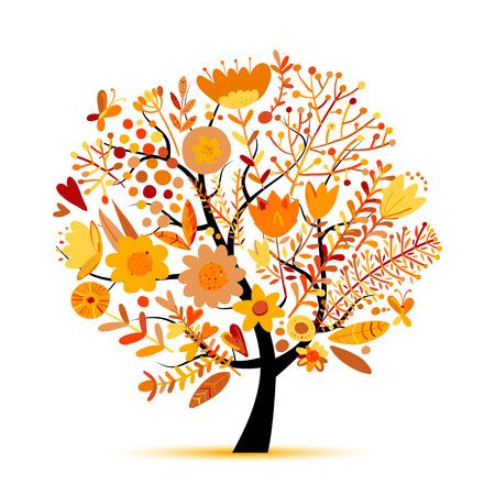 Ilustración de Floral tree, autumn colors. Sketch for your design - Imagen libre de derechos