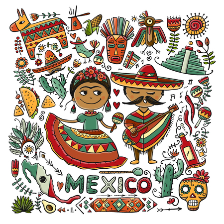 Illustration for Travel to Mexico. Sketch for your design - Royalty Free Image