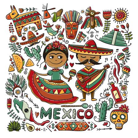 Illustration pour Travel to Mexico. Sketch for your design - image libre de droit