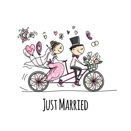 Illustration pour Wedding card design. Bride and groom riding on bicycle - image libre de droit