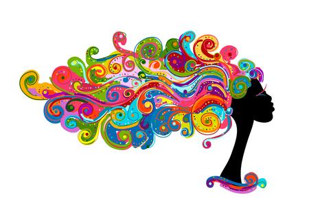 Ilustración de Wavy hairstyle, female head for your design - Imagen libre de derechos
