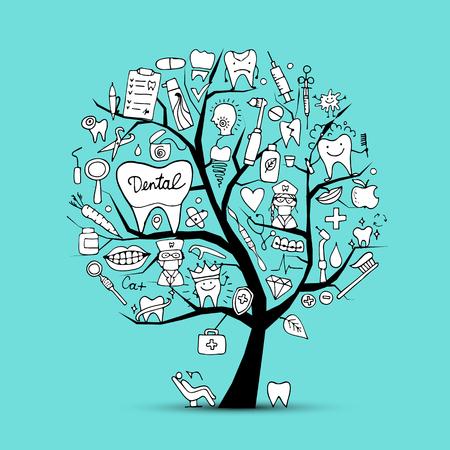 Illustration pour Dental clinic tree, sketch for your design - image libre de droit