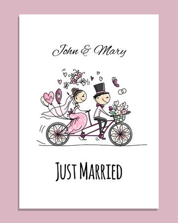 Ilustración de Wedding card design. Bride and groom riding on bicycle - Imagen libre de derechos