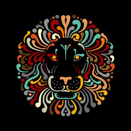 Ilustración de Lion face logo colorful, sketch for your design - Imagen libre de derechos