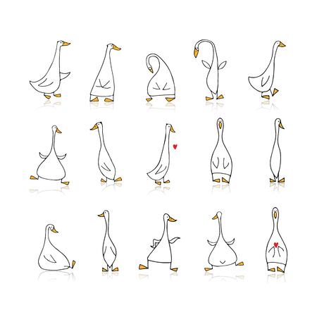 Illustration pour Funny goose set, sketch for your design - image libre de droit