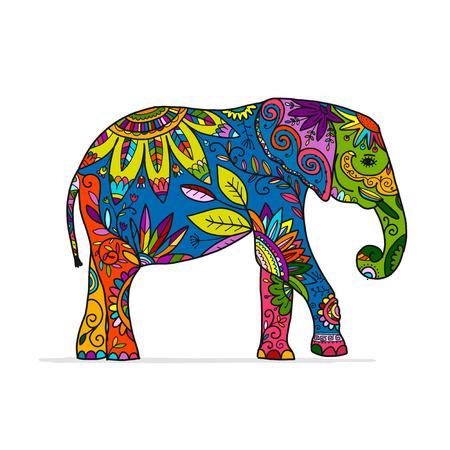 Illustration pour Elephant ornate, sketch for your design - image libre de droit