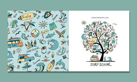Illustration pour Surf school, greeting card design - image libre de droit