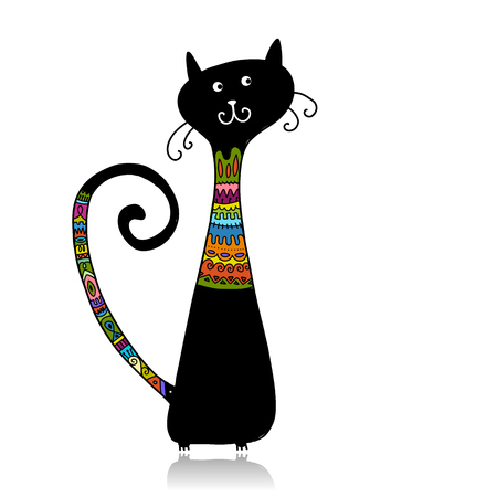 Ilustración de Black cat in cozy sweater, sketch for your design. Vector illustration - Imagen libre de derechos