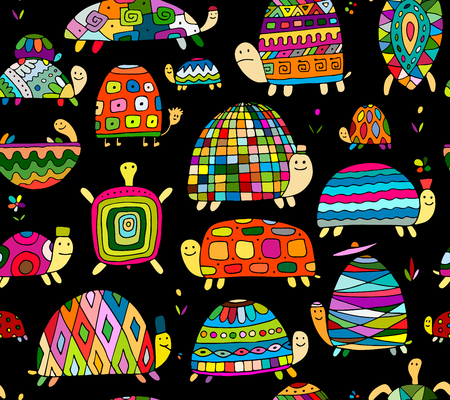 Illustration pour Funny turtles collection, seamless pattern for your design. Vector illustration - image libre de droit