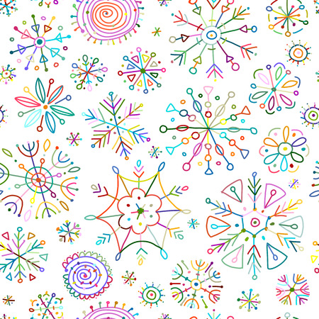 Illustration for Hand drawn snowflakes, seamless pattern for your design. Vector illustration - Royalty Free Image
