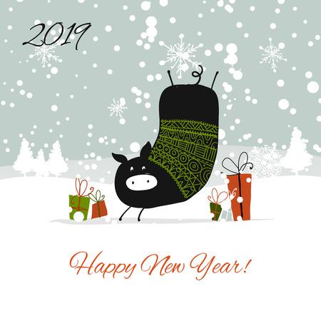 Illustration pour Christmas card, santa pig in forest. Symbol of 2019. Vector illustration - image libre de droit
