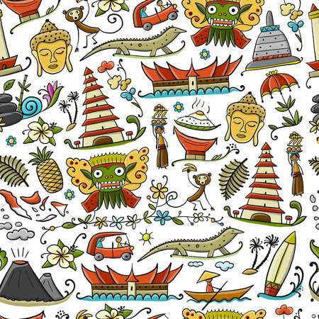 Illustration pour Travel to Indonesia. Seamless pattern for your design. Vector illustration - image libre de droit