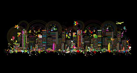 Illustration pour Colorful metropolis, abstract background for your design. Vector illustration - image libre de droit