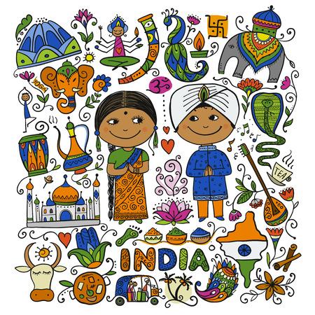 Illustration pour Indian lifestyle. Sketch for your design. Vector illustration - image libre de droit