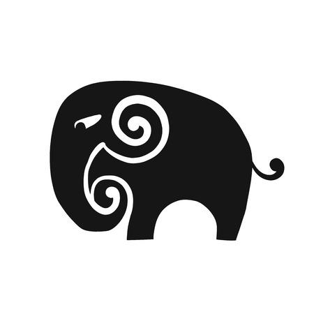 Elephant design, black silhouette