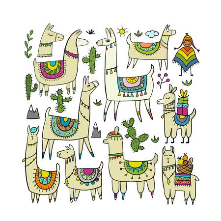 Illustration pour Cute lamas collection for your design - image libre de droit
