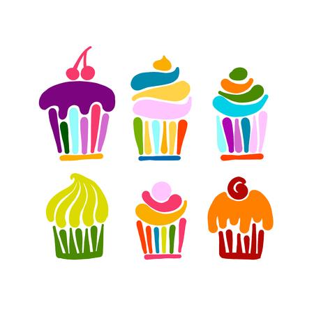 Ilustración de Cupcake collection for your design. Vector illustration - Imagen libre de derechos