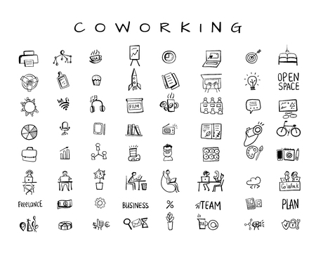 Illustration pour Coworking space, icons set for your design. Vector illustration - image libre de droit