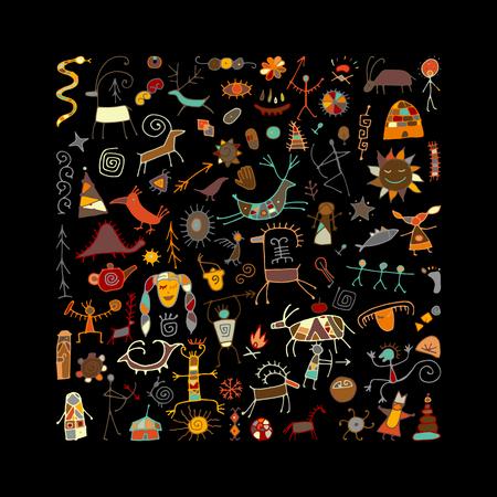 Ilustración de Rock paintings background, sketch for your design. Vector illustration - Imagen libre de derechos