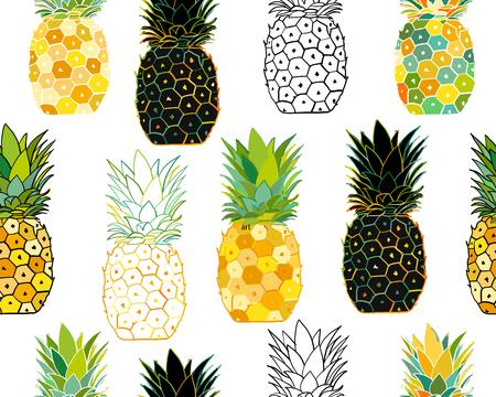 Ilustración de Pineapple set, sketch for your design. Vector illustration - Imagen libre de derechos