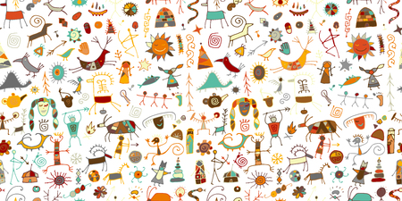 Illustration for Rock paintings background, seamless pattern for your design. Vector illustration - Royalty Free Image