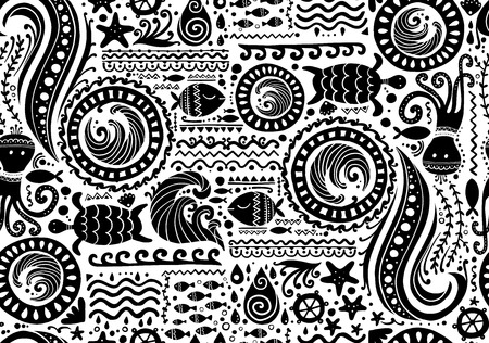 Illustration for Polynesian style marine background, tribal seamless pattern for your design. Vector illustration - Royalty Free Image