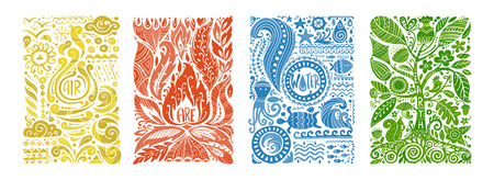 Ilustración de Four elements concept. Banners design. Vector illustration - Imagen libre de derechos
