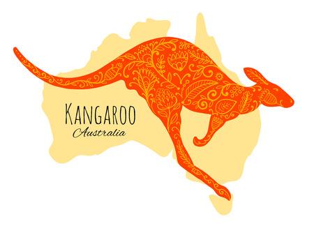 Illustration pour Ornate kangaroo, sketch for your design. - image libre de droit
