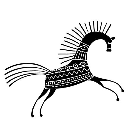 Photo for Abstract folk horse ornate for your design. Vector illustration - Royalty Free Image