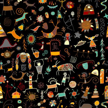 Ilustración de Rock paintings background, seamless pattern for your design. Vector illustration - Imagen libre de derechos