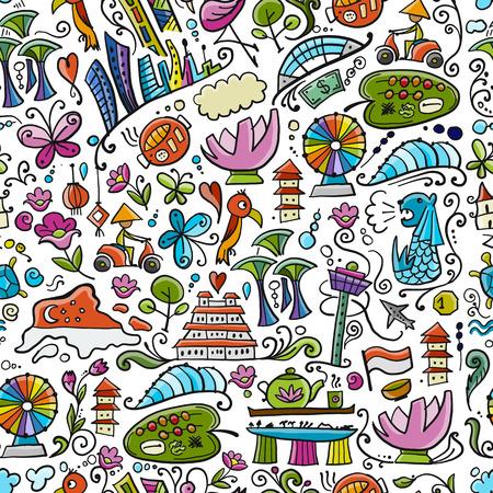 Illustration pour Travel to Singapore. Seamless pattern for your design - image libre de droit