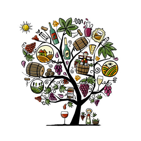 Illustration for Winery concept, art tree for your design - Royalty Free Image