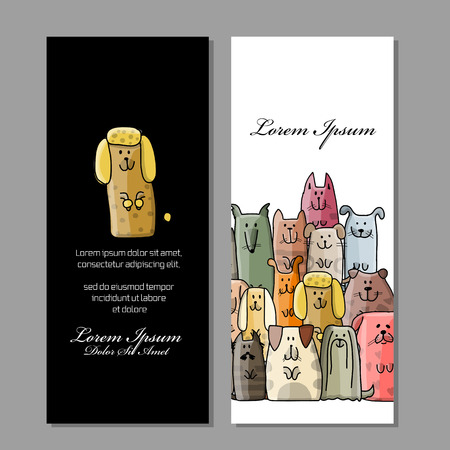 Illustration pour Business cards design, funny dogs family. Vector illustration - image libre de droit