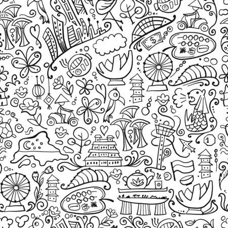 Ilustración de Travel to Singapore. Seamless pattern for your design - Imagen libre de derechos