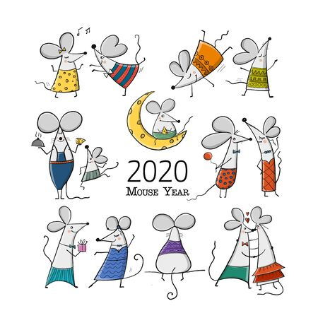 Illustrazione per Funny mouses, symbol of 2020 year. Banner for your design - Immagini Royalty Free