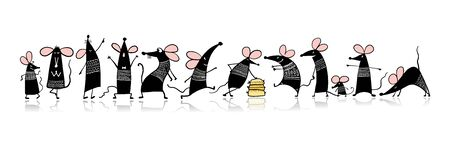Ilustración de Funny mouse family, symbol of 2020 year. Banner for your design - Imagen libre de derechos