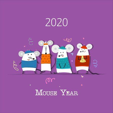 Ilustración de Funny mouse, symbol of 2020 year. Banner for your design - Imagen libre de derechos