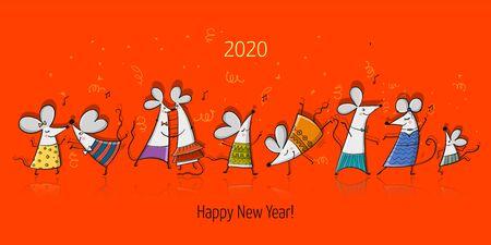 Ilustración de Funny mouses party, symbol of 2020 year. Banner for your design - Imagen libre de derechos