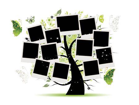 Ilustración de Family tree with photo frames for your design - Imagen libre de derechos