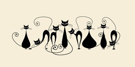 Illustrazione per Funny cats family, black silhouette - Immagini Royalty Free